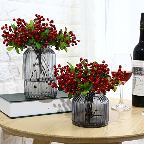 UUPP 6 Pcs Plastic Artificial Flowers Fake Red Berries Fruit Sprays for Home Wedding Office Party Decor, 9.1''