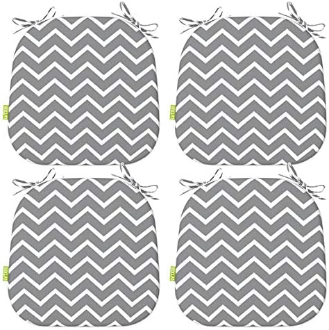 LVTXIII Indoor Outdoor Chair Cushions Seat Cushions with Ties, Patio Chair Pads 16×17 Inch for Patio Furniture Garden Home Office Decoration Set of 4, Zigzag Grey
