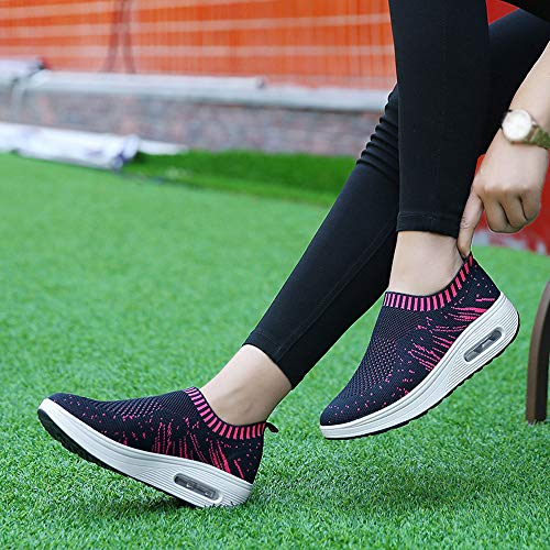 Dark Knitted Sole Outdoor Training Shoes Casual FALAIDUO Sneakers Swinging Blue Women Winter Fashion Sole Autumn Running Mesh Thick Soft XqST5S