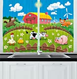 Ambesonne Cartoon Kitchen Curtains, Farm with Cow Fox Chicken Pig Horse in the Fences Countryside Rural Children Design, Window Drapes 2 Panels Set for Kitchen Cafe, 55W X 39L Inches, Multicolor For Sale