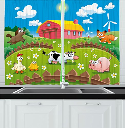 Cartoon Kitchen Curtains by Ambesonne, Farm with Cow Fox ...