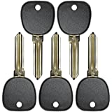 QualityKeylessPlus FIVE Replacement Transponder Chip Keys Circle Plus B111PT for GM Vehicles with FREE KEYTAG