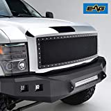 EAG Black Rivet Mesh Replace Grille Chrome Shell