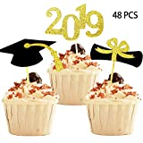 YuBoBo 2019 Graduation Cupcake Toppers, Food/Appetizer Picks for Graduation Party Mini Cake Decorations, Diploma, 2019, Grad Cap Set 48 Pieces (Graduation)