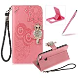 Strap Leather Case for Huawei Honor 9 Lite,Diamond Pink Wallet Flip Case for Huawei Honor 9 Lite,Herzzer Stylish 3D Owl Magnetic Closure Cute Owl Printed Stand Shockproof Card Slots Folio PU Leather Back Case with Soft Silicone