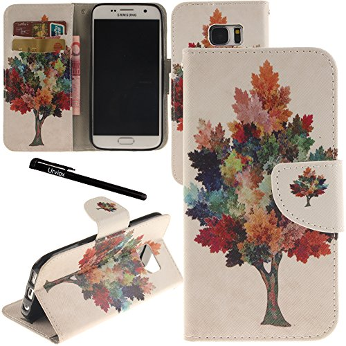 Urvoix Galaxy S7 Case, Card Holder Stand Leather Wallet Case - Colorful Maple Tree Flip Cover for G930 Samsung Galaxy S7