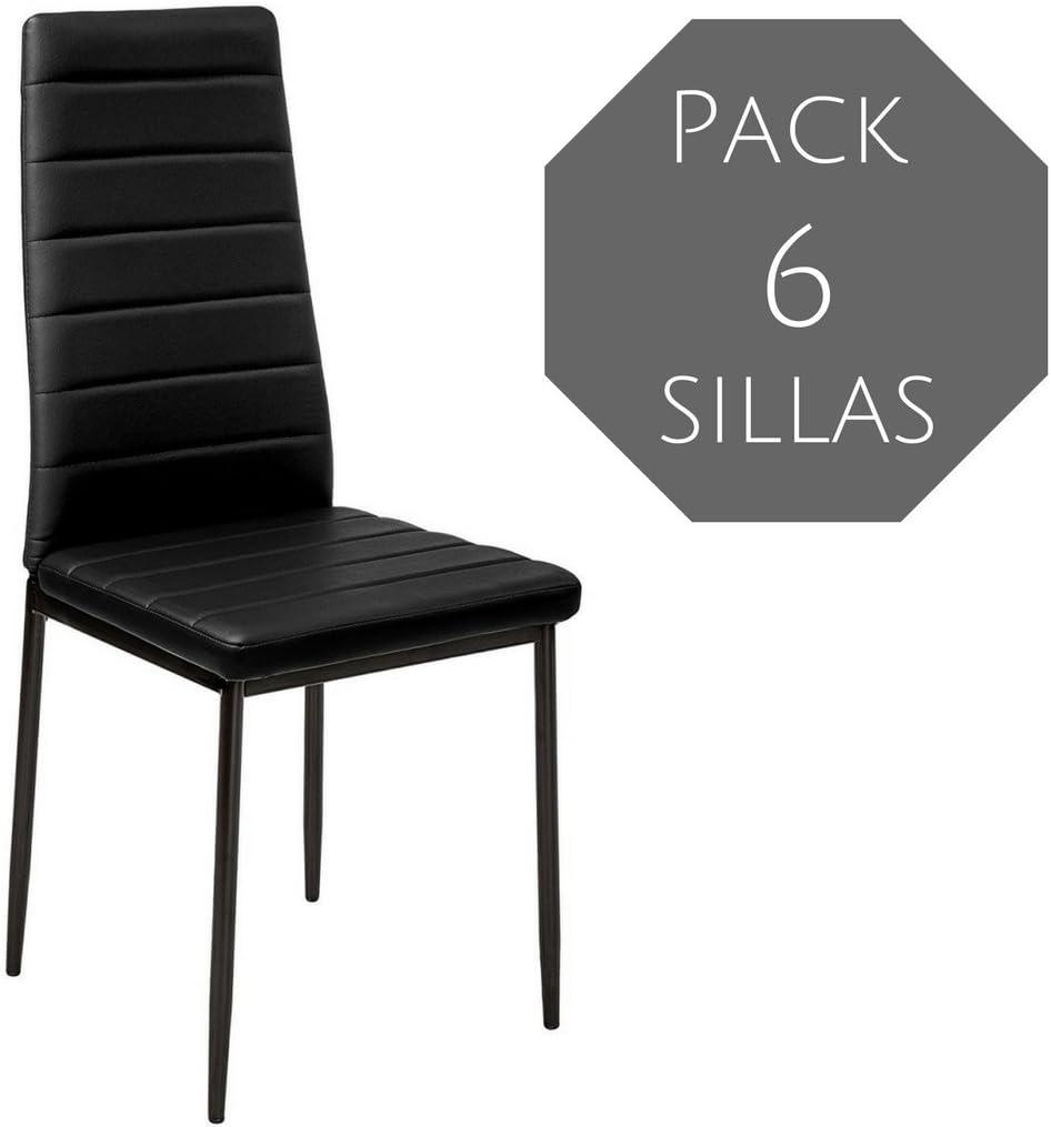 Mobelcenter - Pack 6 Sillas Comedor emi - Negra (0461): Amazon.es ...