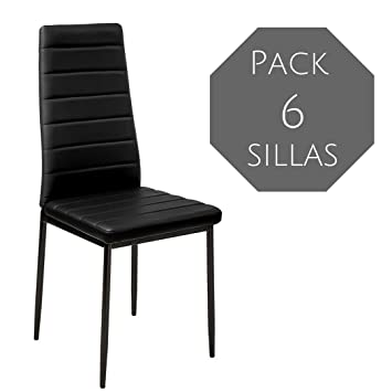 Mobelcenter - Pack 6 Sillas Comedor emi - Negra (0461)