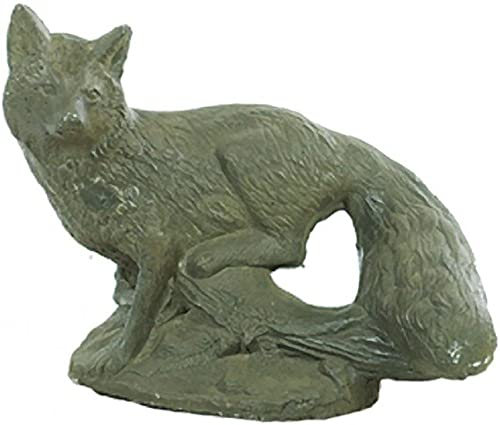 Solid Rock Stoneworks Fox on Limb Decorative Stone Statue 11in Tall Slate Color