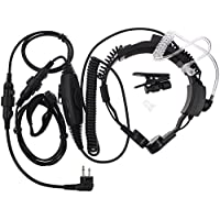 TENQ Professional Tactical Military Police FBI Flexible Throat Mic Covert Acoustic Tube Earpiece Headset Ajustable Volume with PTT Microphone for 2 Pin Motorola Radio CP040 CP200 XTNI DTR Vl50
