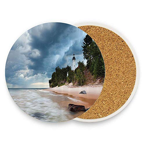 Au Sable Lighthouse in Pictured Rock National Lakeshore Michigan USA Picture Ceramic Coaste Glass Cup Holder Coffee Mug Place Mats for Drinks Pack Of 1