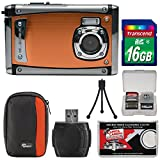 Bell & Howell Splash3 WP20 HD Shock & Waterproof Digital Camera (Orange) with 16GB Card + Case + Reader + Tripod + Kit
