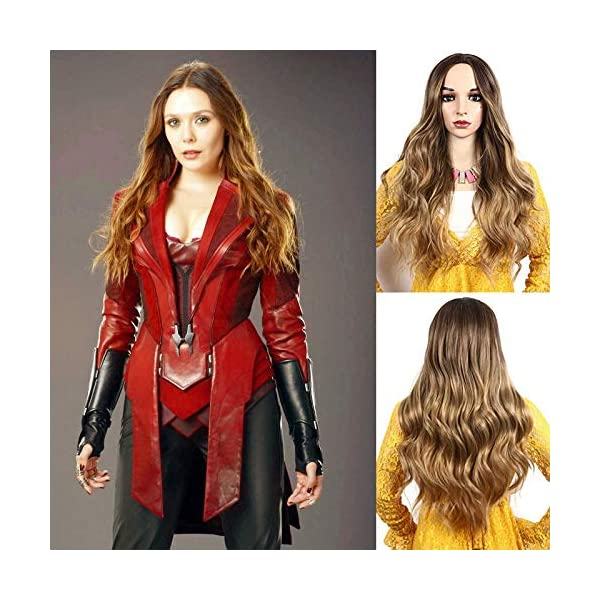 51vneeb4e7L IVY HAIR Scarlet Witch Wanda Maximoff Cosplay Wigs for Women Natural Long Wavy Curly Wig Dark Roots Ombre Blonde Wig…