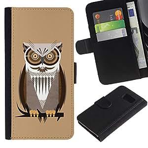 Paccase / Billetera de Cuero Caso del tirón Titular de la tarjeta Carcasa Funda para - Owl Brown Big Eyes Branch Tree Bird Forest - Samsung Galaxy S6 SM-G920