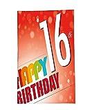 interestlee manta de forro polar 16o cumpleaños decoraciones Little Cupcake con vela mensaje de felicitación romántica impresión en rojo y naranja, azul, Color02, 59.1'W x 78.8'H