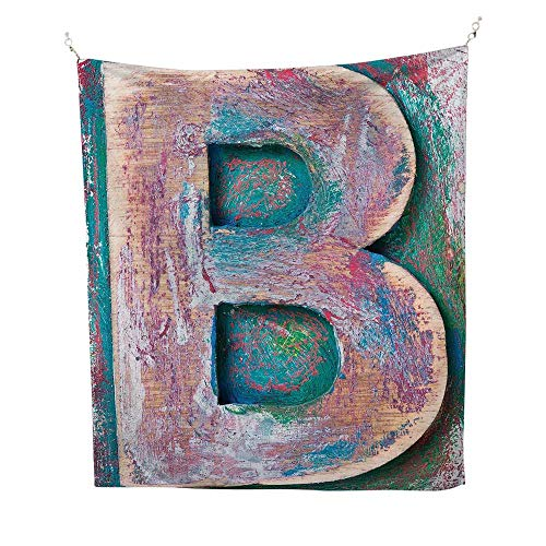 Letter Bspace tapestryOld Fashioned Print Method Wood Block Alphabet ABC Type Worn Capital B 54W x 84L inch Wall Hanging tapestryTeal Ivory Dark Coral