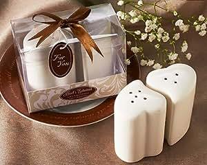Hearts Entwined Salt & Pepper Shakers in Gift Box - Porcelain Wedding Favors & Party Keepsake Gifts (Bulk Buy Sale!)