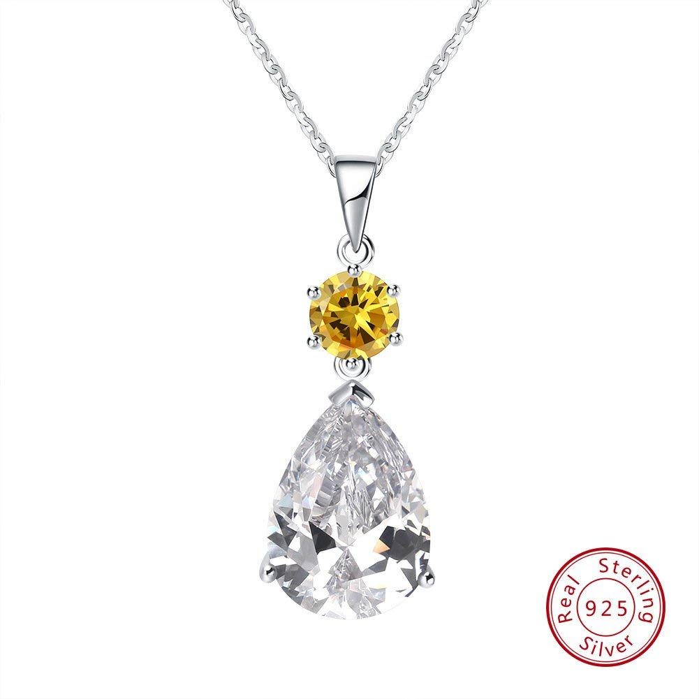 Ladies Best Gifts for Her 925 Silver TTLElife BBYaki S925 Sterling Silver Snow//Water Drops Zircon Pendant//Necklace Brown//Silver