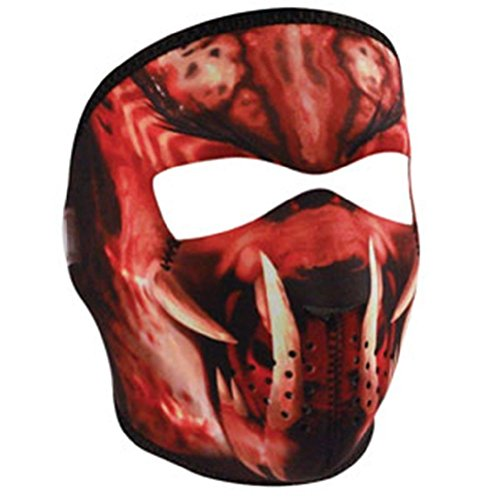 Red Black Slayer Fangs Neoprene Full Face Mask Biker (Red Professional Paintball Mask)