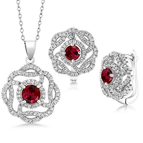 5.30 Ct Round Red Created Ruby 925 Sterling Silver Pendant Earrings Set