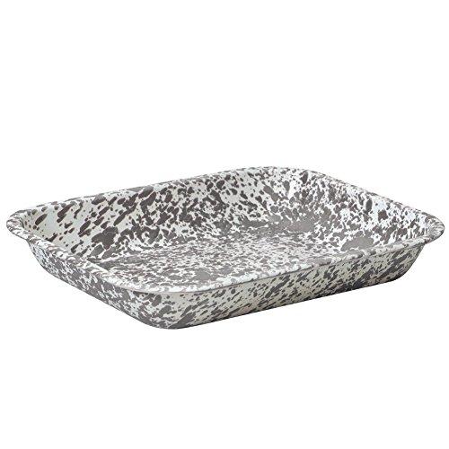 Enamelware Large Open Roasting Pan - Grey Marble