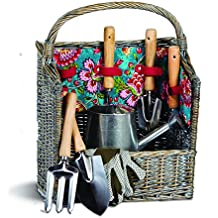 8 Piece Garden Tool Set with Vintage Willow Basket April Cornell design By Picnic Plus - Madeline Turquoise