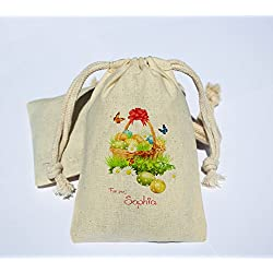 Personalized easter bags lets personalize that personalized cotton muslin happy easter party favor bag easter holiday favor bag happy easter amazon negle Image collections