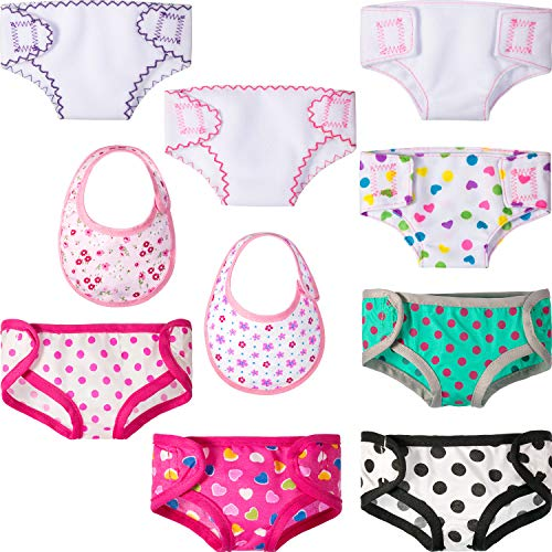 - Jovitec 8 Pieces Doll Diapers Reusable Cloth Underwear Set Compatible with 18 Inch American Girl Dolls, Fabric Underwear and 2 Dolls Bib Accessories