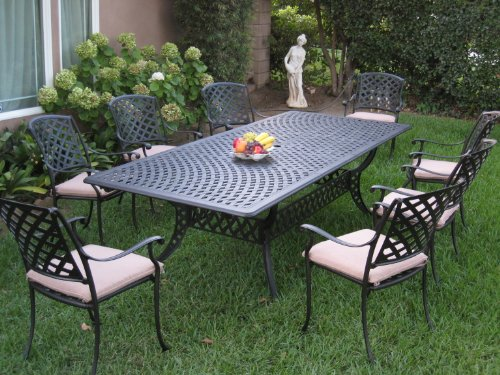 Cast Aluminum Outdoor Patio Furniture 9 Piece Extension Dining Table Set KL09KLSS260112T