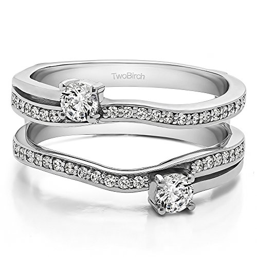 0.66 ct. C&C Moissanite Two Stone Ring Guard in 14k White Gold (0.66 ct) (Size 3 to 15 in 1/4 Sizes)