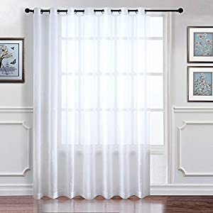 "Extra Wide Sheer Curtain Panel - RYB HOME Sliding Glass Patio Door Light Flirting Grommet Top Vertical Voile Drape, New White, Width 100"" x Lengh 84"" Inch One Panel"