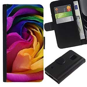 KingStore / Leather Etui en cuir / Samsung Galaxy S5 V SM-G900 / Flor del arco iris Rose Petal
