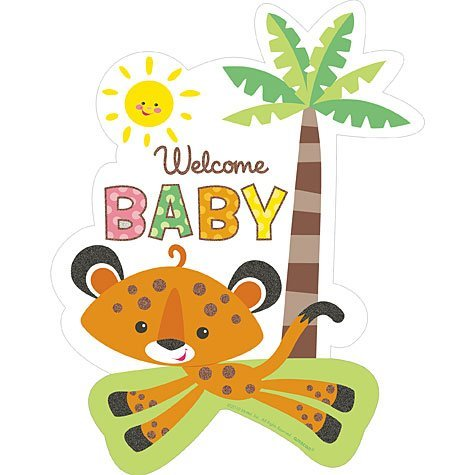 Welcome Baby Tiger Cutout Nursery or Baby Shower Decoration -