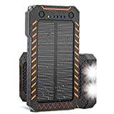 X-DRAGON Solar Charger, 15000mAh Power Bank Portable Dustproof Shockproof Dual USB Solar Panel Battery Charger with Dual Super Bright LED Light for iPhone, Samsung Galaxy and More -Orange