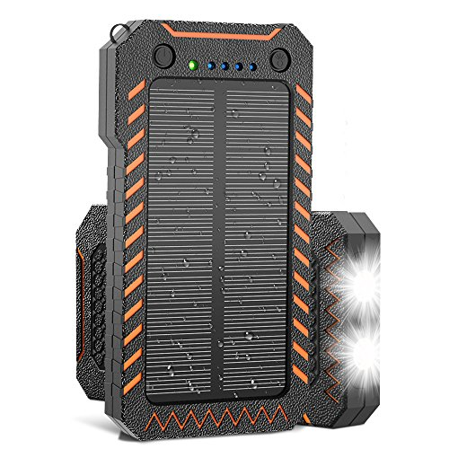 Solar Charger, X-DRAGON 15000mAh Power Bank Portable Dustproof Shockproof Dual USB Solar Panel Battery Charger with Dual Super Bright LED Light for iPhone, Samsung Galaxy and More-Orange