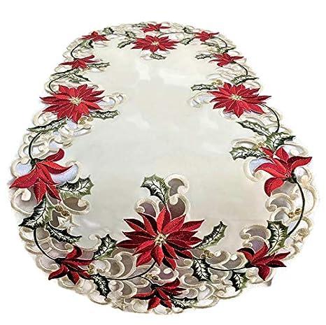 Amazon.com: Camino de mesa de Navidad con flores de pascua ...