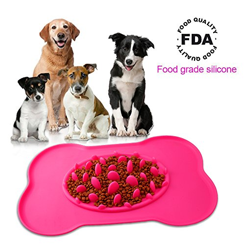 PerSuper Slow Feed Pet Bowl Silicone Bone Shaped Feeder Anti Choke Dog Bowl with No Spill Non-Skid Portable Bowl for Dogs and Cats, Pets (Red)
