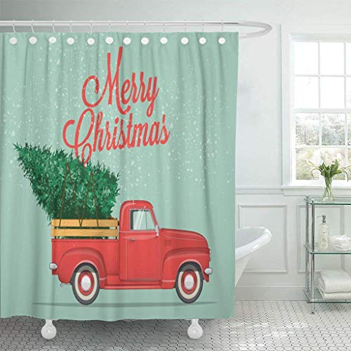 GoEoo Waterproof Fabric Shower Curtain Hook red Old Merry Christmas and Happy New Year Retro Pickup Truck Tree Retro Style Green Logo Extra Long Bathroom odorless Green (Merry Christmas And Happy New Year Logo)