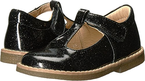 Kid Express Baby Girl's Birdie (Toddler/Little Kid) Black Glitter Patent Shoe - Kid Express Leather Mary Janes