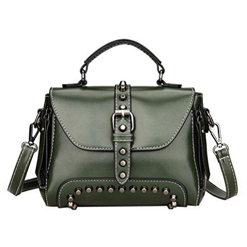 Retro Messenger Bag, Fashion Women's Rivets Leather Shoulder Bags Small Corssbody Bag&Handbag Green