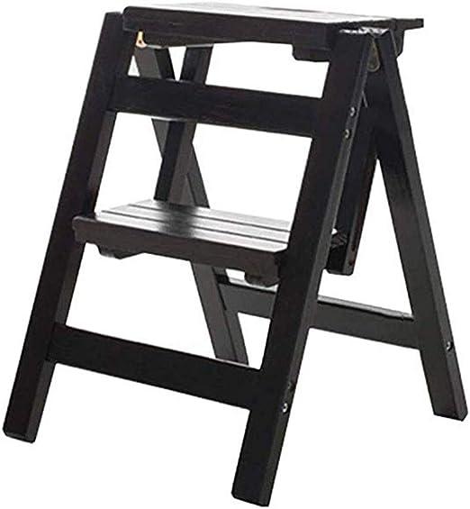 WYNZYTD Escalera De Madera Multifuncional del Hogar, Escalera De Madera Portátil Plegable De La Escalera De Dos Pasos Pequeña, 39.5 × 44 × 47cm: Amazon.es: Hogar