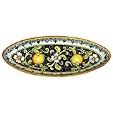 CERAMICHE D'ARTE PARRINI - Italian Ceramic Art Pottery Serving Bowl Centerpieces Tray Hand Painted Decorative Lemons Tuscan Made in ITALY