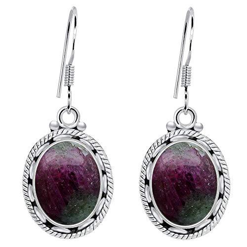 Ruby Zosite Earrings By Orchid Jewelry: Dangle and Hypoallergenic Red Earrings For Sensitive Ears, Nickel Free Wedding Earrings, July Birthstone Sterling Silver Dangling Earring (8.2 -