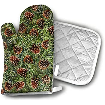 Pine Cone Oven Gloves Non-Slip Kitchen Oven Mitts Heat Resistant Cooking Gloves for BBQ,Baking,Grilling,Barbecue Potholder