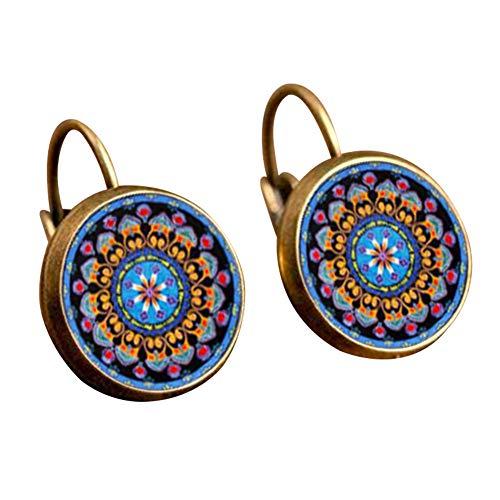 CHoppyWAVE Retro Earring,Mandala Flower Round Bronze Ear Clips for Girl Women - Flower Earrings Bronze