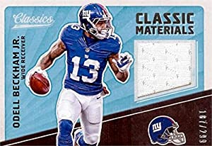 Autograph Warehouse 343338 Odell Beckham Jr. Player Worn Jersey Patch Football Card - New York Giants 2017 Classic Materials No. CM-OBJ LE 187 & 299