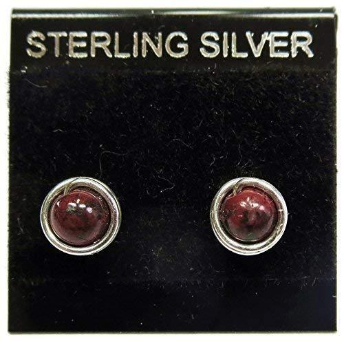 Red Jasper & Sterling Silver Wire-Wrapped Post Earrings