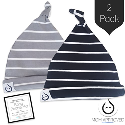 Shiny Black Stripe - Kaydee Baby Organic Knot Beanie Hats - Set of 2 (0-12 Months) Variety of Color Options (0-6 Months, Stripes)