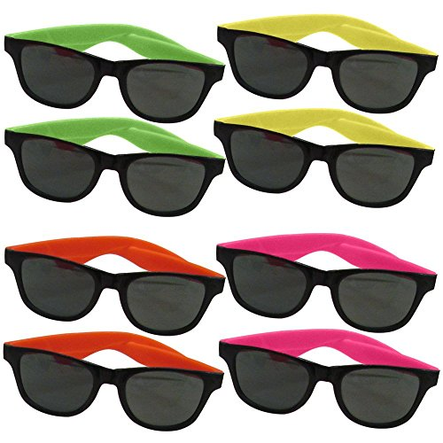 12 Pairs of Neon Long Lasting 5 1/2 Inch 80's Retro Vintage Party Eyewear ,Shades ,Sunglasses For Adults By Dazzling - For Disney Sunglasses Adults