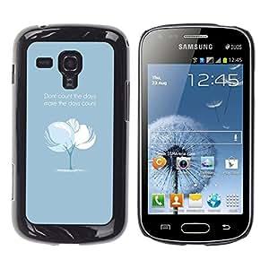 Qstar Arte & diseño plástico duro Fundas Cover Cubre Hard Case Cover para Samsung Galaxy S Duos / S7562 ( Tree Blue Baby Text Inspiring Message)